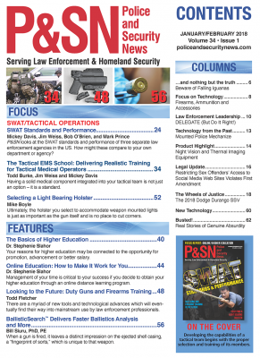 Police and Security News Jan/Feb 2018 Table of Contents