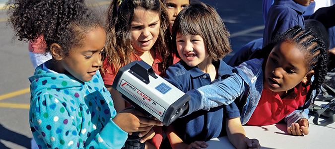 Children using police radar.