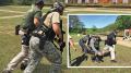 Men training at rifle range.