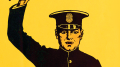 Sketch of policeman against yellow background with hand raised.