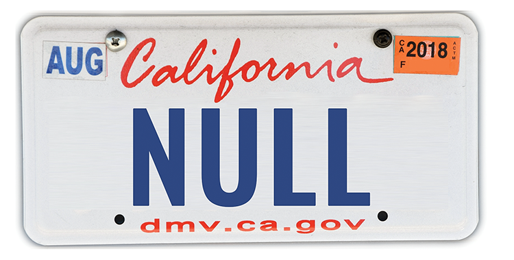 California license plate