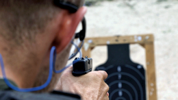 Police officer at target practice.