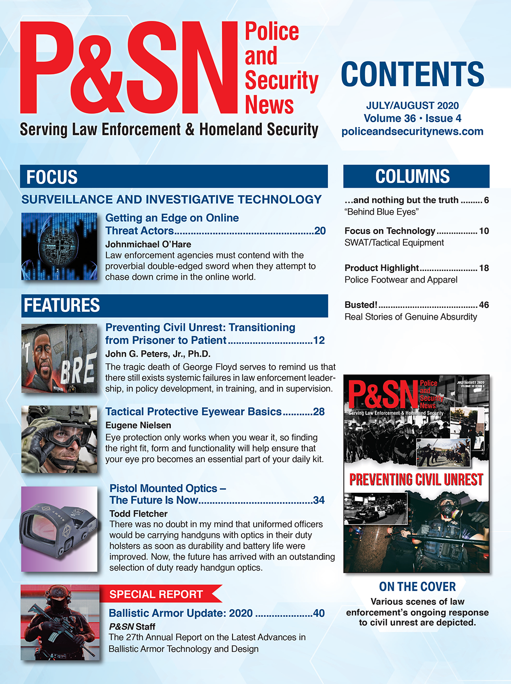 Police and Security News Table of Contents July and August