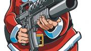 Cartoon of santa clause holding a gun.