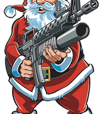 Cartoon of santa clause holding a gun.