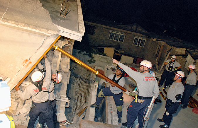 Rescue workers at night